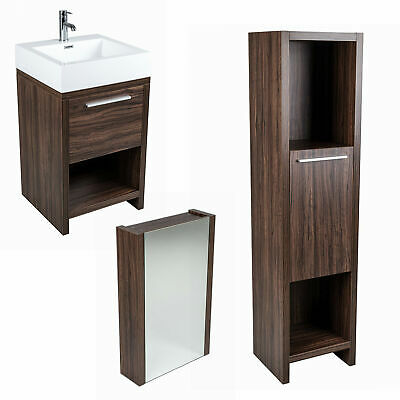 Walnut Bathroom Vanity Unit Basin Mirror Cabinet Tall Storage Suite Furniture • 214.95£