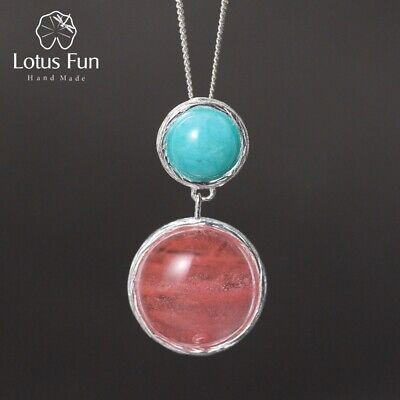 AU17.49 • Buy Elegant Natural Gemstone Round Candy Pendant For Women Solid 925 Silver Jewelry