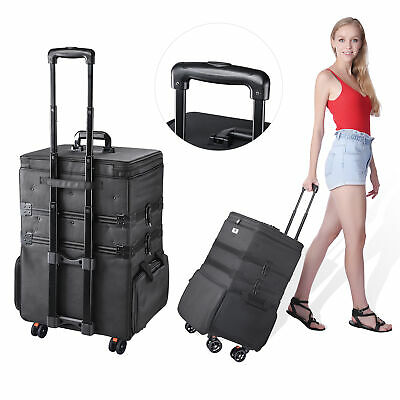$142.90 • Buy 3 In 1 Professional Makeup Artist Rolling Case Cosmetic Organizer Soft Trolley