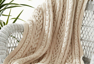 £1.50 • Buy KNITTING PATTERN - CHUNKY THREE BRAIDED CABLE KNIT AFGHAN/BLANKET/THROW 43 X 58