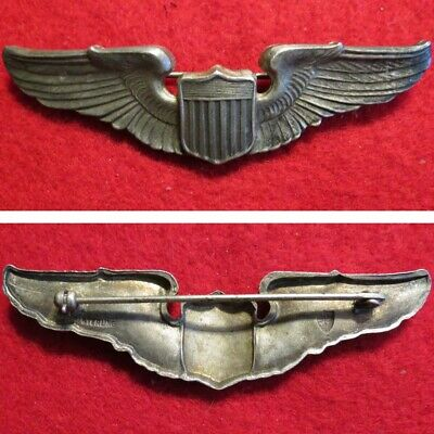 WWII US Air Corps Sterling 3 Inch Pilots Wings Insignia, NS Meyer, PB Original • 67.34$