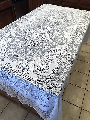 """$32 • Buy Vintage Quaker Lace White Tablecloth Floral Design Rectangle Polyester 71"""" X 101"""