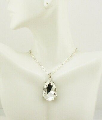 Joan Rivers Faceted Crystal Tear Drop Necklace  18  • 17.50$