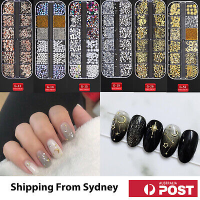 AU8.95 • Buy 3D Assorted Nail Decals Decoration Nail Art Rhinestones Mix Gem Designs Tips DIY
