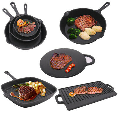 Cast Iron Non-Stick Frying Enamel Pan Grill BBQ Skillet Reversible Griddle Plate • 15.95£
