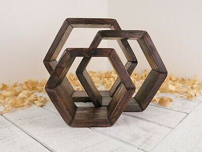 Handmade Wooden Hexagon Shelves  Display Shelves  Walnut Wax Finish  Set Of 3 • 28£