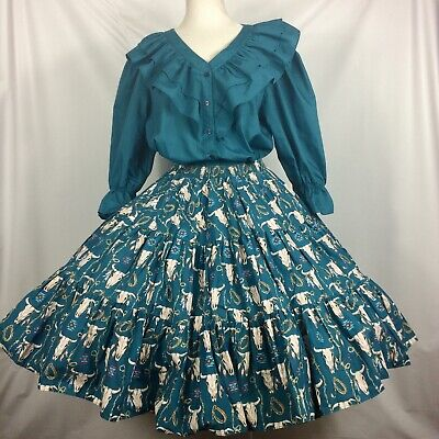 Square Dance Outfit Blouse Skirt 2 Pc Dress Teal Southwestern Print L  • 74.25$
