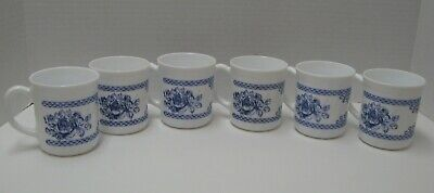 6 Arcopal Honorine Cups White With Blue Roses & Border Very Nice! • 16.99$