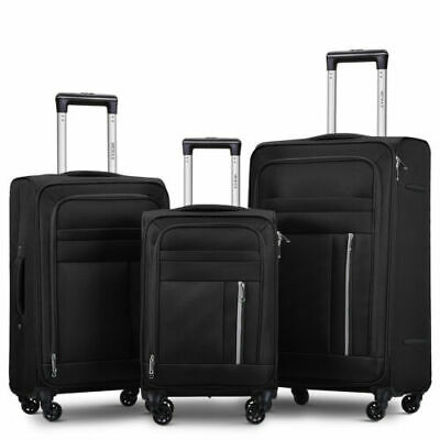 Soft Shell Cabin Suitcase 4 Wheel Travel Luggage Trolley Super Lightweight Case • 24.99£