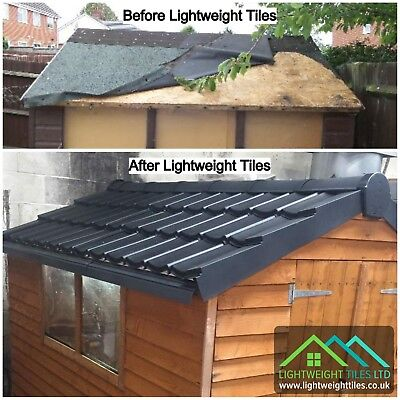 £489.99 • Buy SHED ROOF TILE KIT 12x8|Recycled Plastic Roofing Tile Sheets|Ridge|DryVerge|Scre