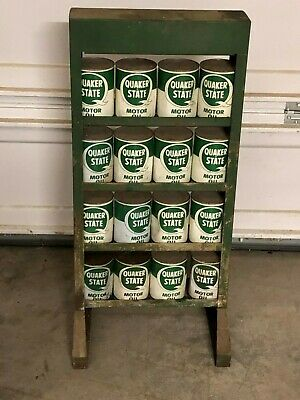 Original Vintage Quaker State Motor Oil Can Rack WITH OIL Stand Metal Sign Gas • 539.95$