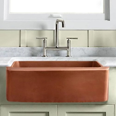 $929 • Buy 25  Geneva Smooth Copper Single-Bowl Farmhouse Sink With Hammered Interior