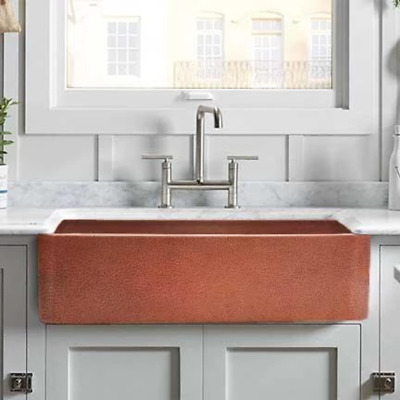 $978 • Buy 25  Sinclair Hammered Copper Single-Bowl Farmhouse Sink