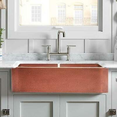 $1328 • Buy 35  Lawrence Hammered Copper Double-Bowl Farmhouse Sink