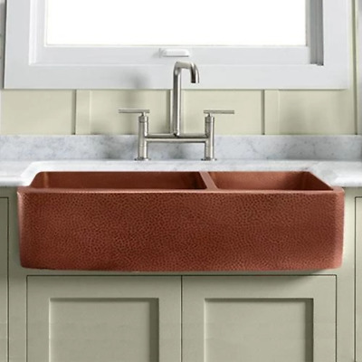 $1908 • Buy 42  Easton Hammered Copper 60/40 Offset Double-Bowl Farmhouse Sink