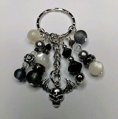 Handmade Keyring Bag Charm Skull Wing Grey/Silver/Black Beads • 3.95£