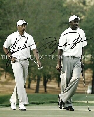 MICHAEL JORDAN AND TIGER WOODS SIGNED AUTOGRAPH 8x10 RPT PHOTO GREATEST PLAYERS • 14.99$