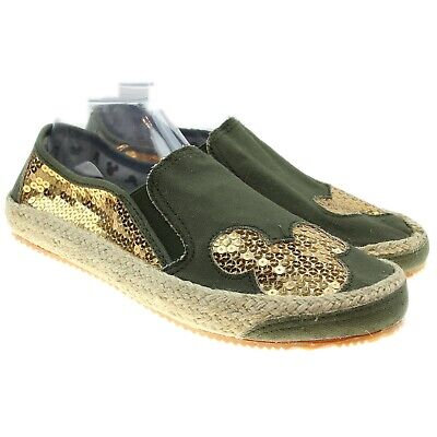 MICKEY MOUSE Womens Size 9 Olive Green Gold Sequin Embellished Espadrille Flats • 28.49$