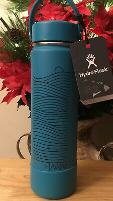 $82 • Buy RARE LIMITED EDITION Hawaii Hydro Flask 24oz Wide Mouth Flex Cap Blue TIDE Boot