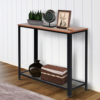 2-Tier Console Table Side/End Table W/ Mesh Shelf Entryway Hallway Furniture • 49.99£