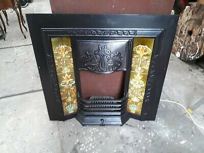 Victorian Style Cast Iron Tiled Fireplace.  Complete • 250£