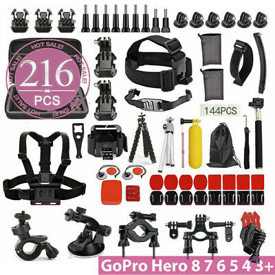 AU32.95 • Buy 216 Pcs Accessories Pack Case Chest Head Floating Monopod GoPro Hero 8 7 6 5 4
