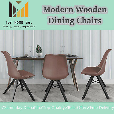 AU64.95 • Buy Modern Wooden Office Living Dining Chairs Set Of 2 Upholstered Side Chair- Bwn
