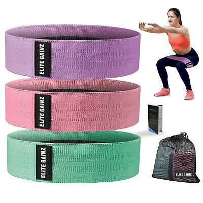 AU39.99 • Buy Resistance Booty Bands Set: 3 Non-Slip Fabric Exercise Bands For Butt, Leg & Arm