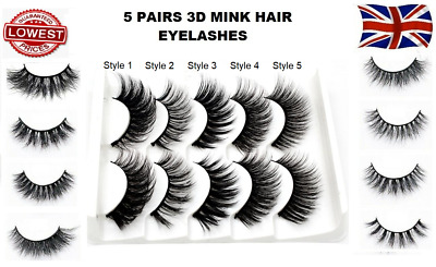 5Pairs 3D Natural False Eyelashes Long Thick Fake Eye Lashes Makeup Mink • 0.99£