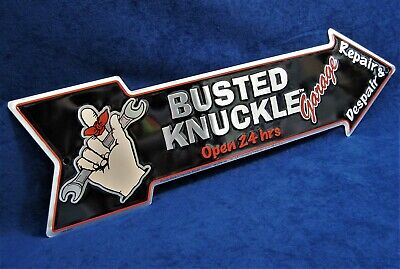 BUSTED KNUCKLE Arrow - *US MADE* Embossed Metal Sign - Man Cave Garage Bar Decor • 14.95$