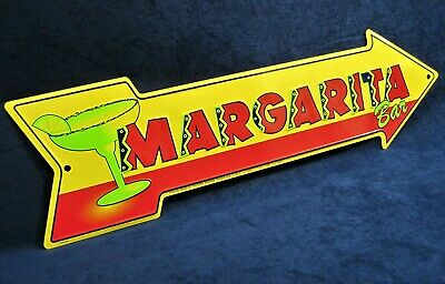 MARGARITA BAR Arrow - *US MADE* Embossed Metal Sign - Man Cave Garage Bar Decor • 14.75$