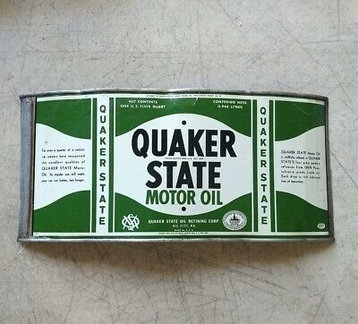 Vintage QUAKER STATE MOTOR OIL Can That Is Cut & Flattened Painted Label • 9.99$