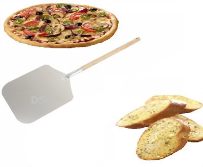 Pizza Peel with Wood Handle 12x14x26 Aluminum Pizza Peel Bakers Oven Restaurant Paddle for Baking Homemade Pizza and Bread