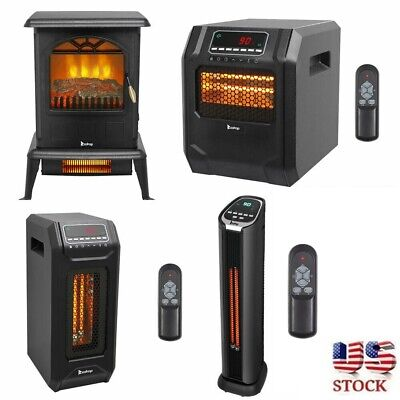 $58.60 • Buy 1500W Infrared Space Heater Electric Fireplace Quartz LED Safe Fire Stove Remote