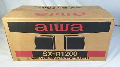 $59.99 • Buy NOS Pair Of Vintage Aiwa SX-R1200 Surround Sound Speakers Black Wood Case