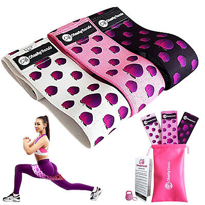 AU35.95 • Buy Resistance Fabric Booty Bands Set 3 Hip Circle Workout Bands Exercise Guide, Bag