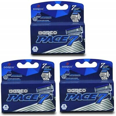 $29.99 • Buy 3 Pack Deal Dorco Pace 7 Seven Blade Razor Shaver System Refill 12 Cartridges