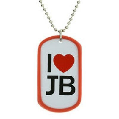 £4.49 • Buy Justin Bieber Necklace I Love Heart JB Dog Tag Jewellery Official RRP £5.50
