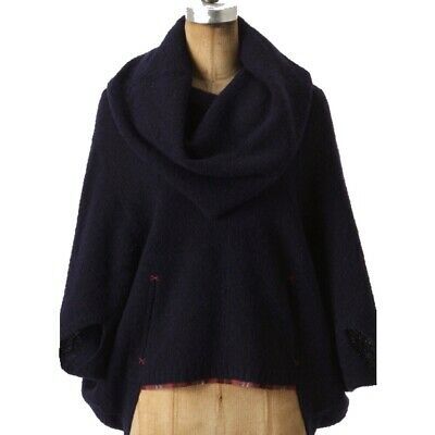 $ CDN30 • Buy Anthropologie Sparrow Hallowell Navy Blue Poncho Size Large