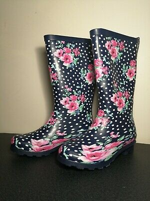 Pink Flowers Waterproof Wellington Garden Festival Boots Ladies/Girls Wellies • 13.49£