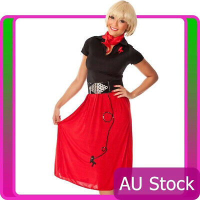 AU25.50 • Buy Ladies 50s Costume 1950s Style Red Poodle Bopper Womens Girls 50's Fancy Dress