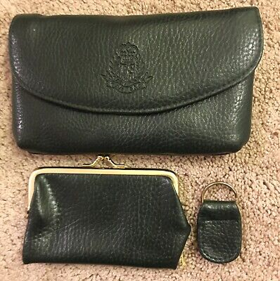 $7.99 • Buy Vintage 3 Pc Green Wallet, Coin Purse, Key Ring By Tan Sag Faux Leather Nice!