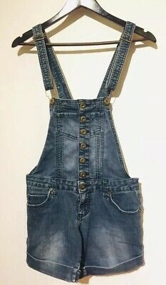 $29.99 • Buy Chicle Denim Stretch Jeans Cuffed Shorts Bib Overalls Suspenders Dungarees Small