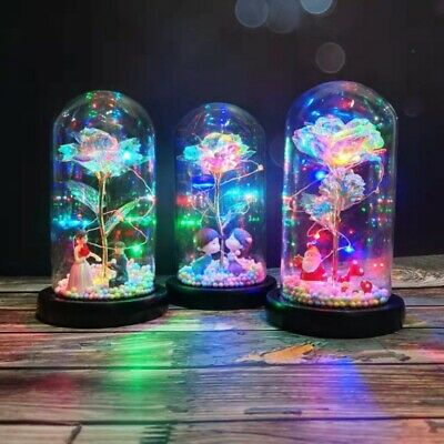 AU13.29 • Buy LED Light Up Enchanted Rose Light Silk Artificial Rose In Glass Lamp Decor Gift