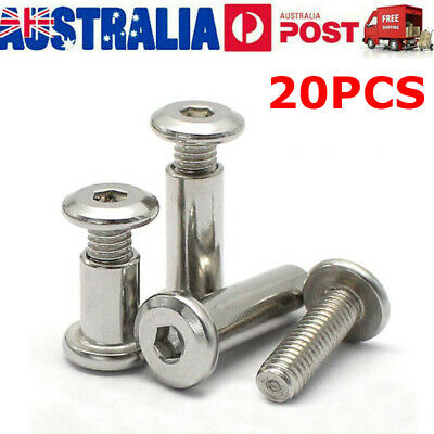 AU18.99 • Buy 20X 304 Stainless Steel Allen Flat Nut Hex Nut Bolt Round Head Sleeve Furniture