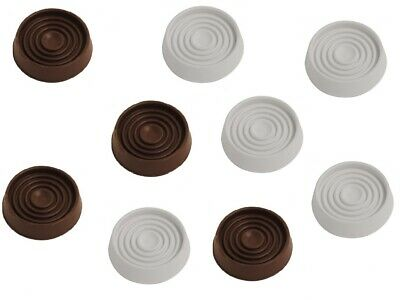 4x LARGE RUBBER NON SLIP CASTOR CUPS WHITE BROWN Floor Wood Laminate Feet Cap • 3.29£