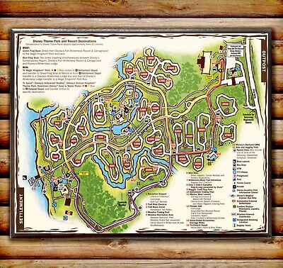 $49.95 • Buy FORT WILDERNESS GUIDE MAP Reproduction Wood Sign Plaque Disney World Prop 8x10