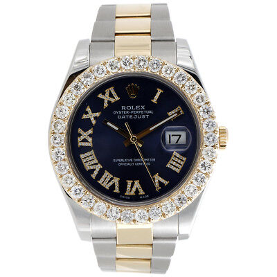 $ CDN21727.74 • Buy Mens 41mm 116333 Rolex DateJust II Two Tone Diamond Watch Blue Roman Dial 6 CT.