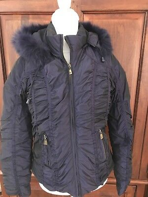 $26 • Buy Nicole Miller Womens M Plum Down Filled/furry Removable Hood/Gathers EUC