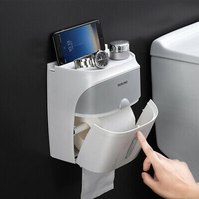 AU23.49 • Buy Toilet Paper Double Roll Holder Tissue Bathroom Wall Mounted Storage Hook Shelf